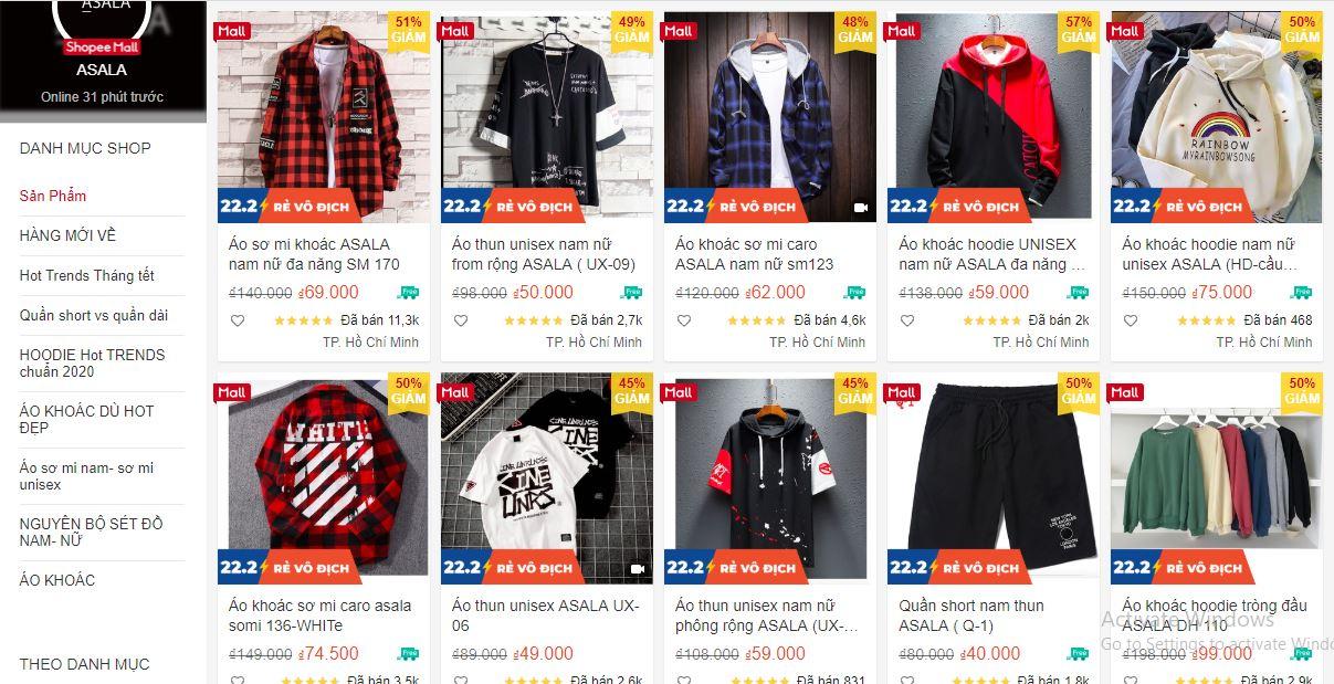 shop quần áo nam uy tín trên