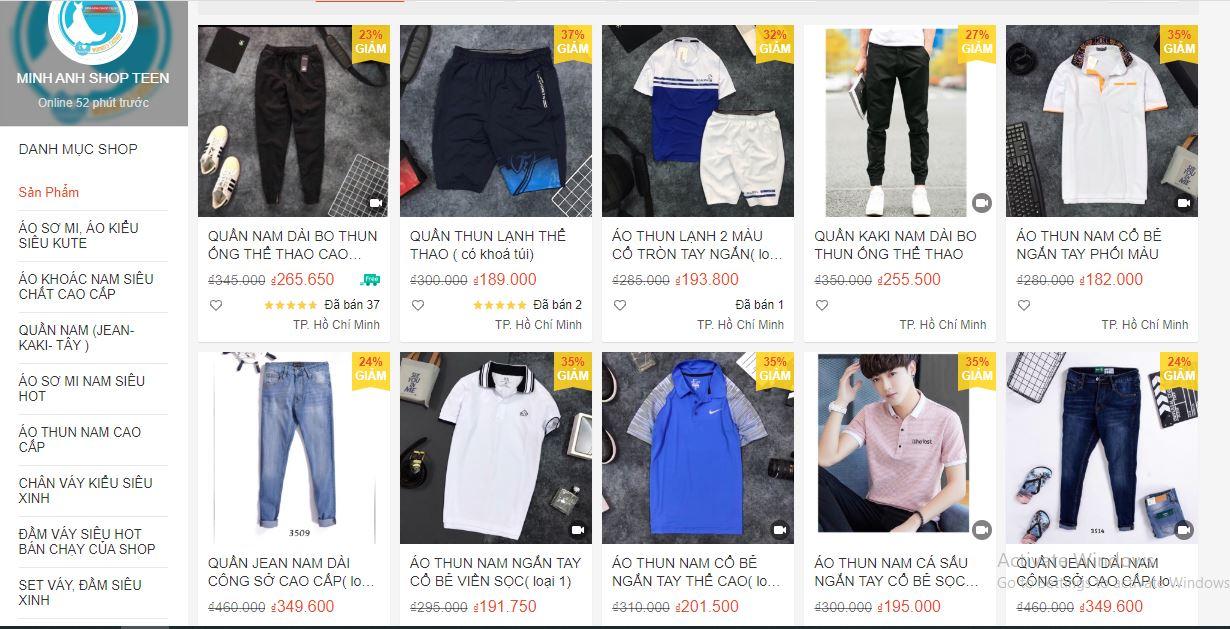 shop quần áo nam uy tín trên shopee