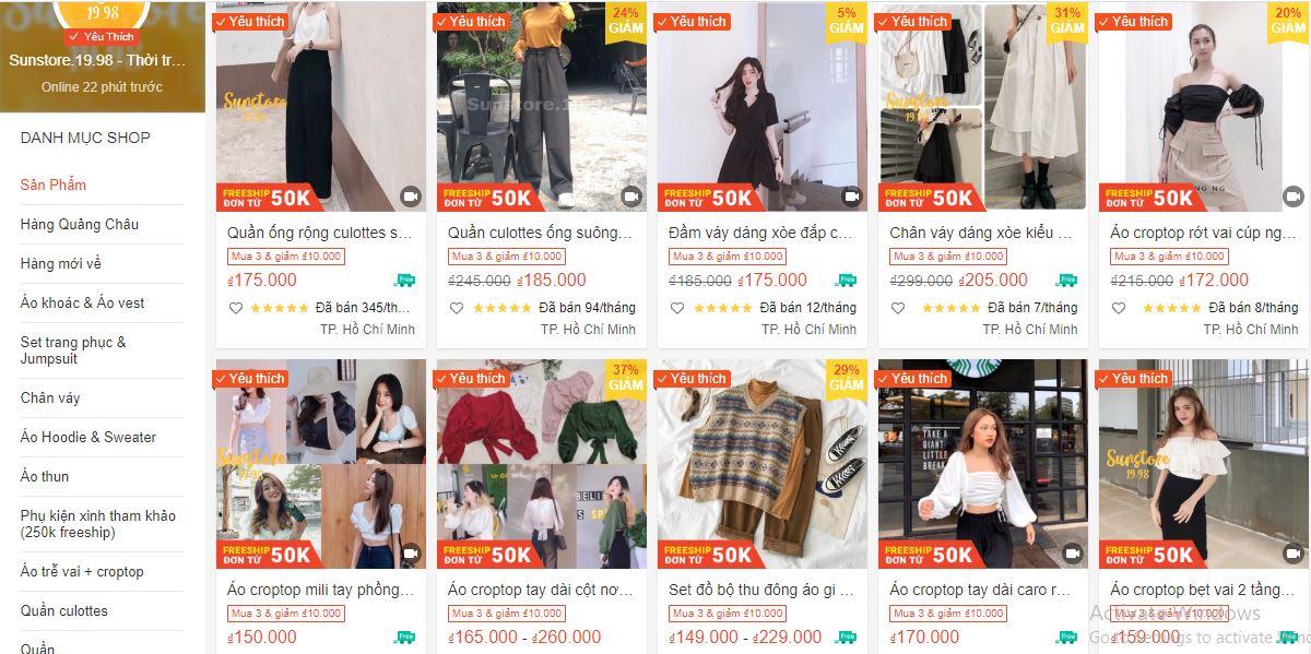 Shop bán quần áo nữ đẹp