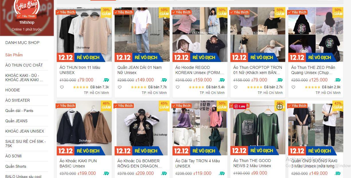 shop bán quần áo đẹp trên shopee