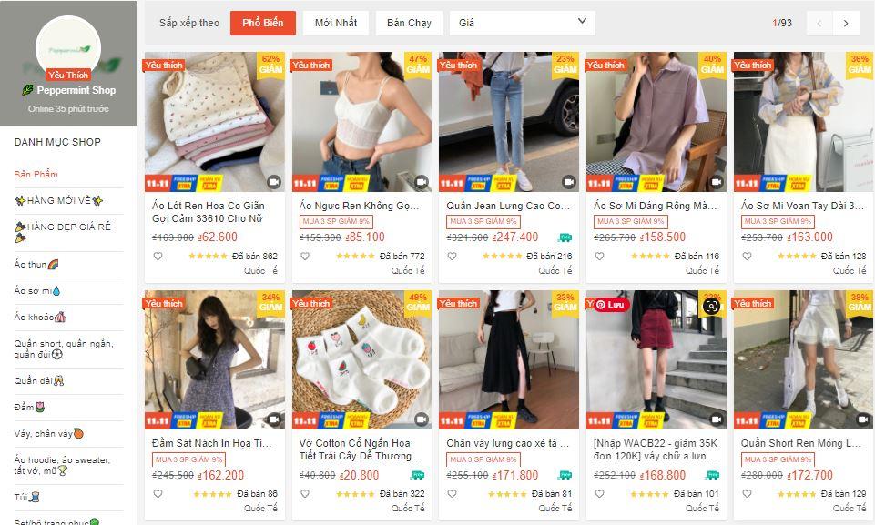 shop quần áo đẹp chất lượng trên shopee