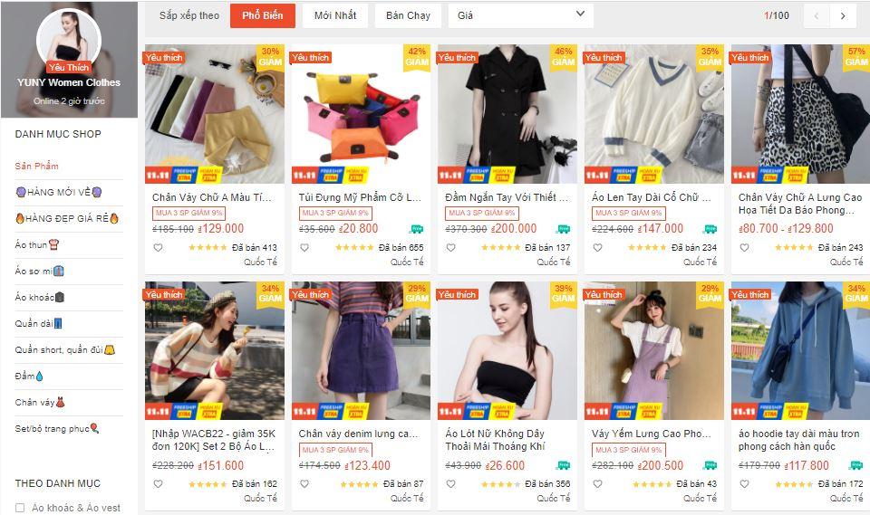shop bán quần áo uy tín trên shopee
