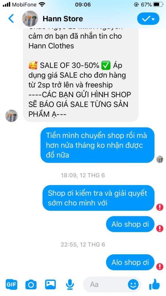 Shop Hann Store lừa tiền