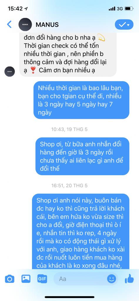 Shop MANUS lừa đảo