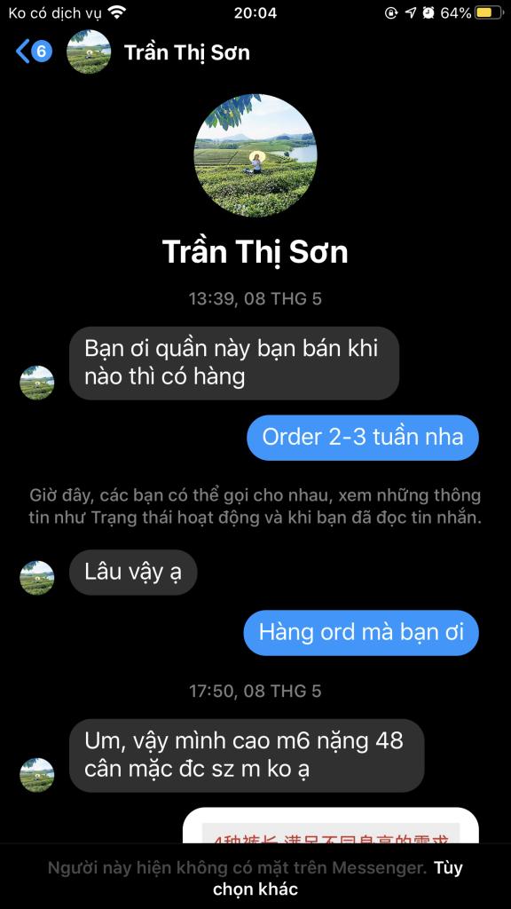 Trần Thị Sơn - 0523858832 bom hàng