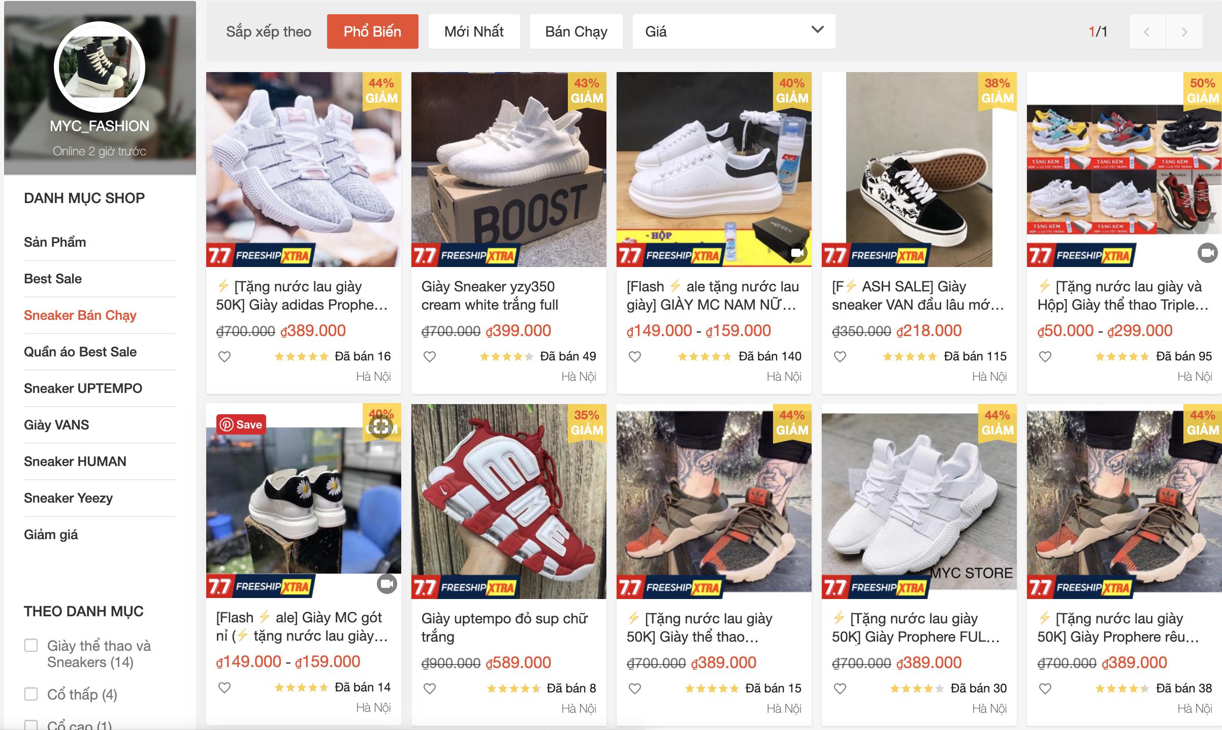 shop bán giày thể thao đẹp trên shopee