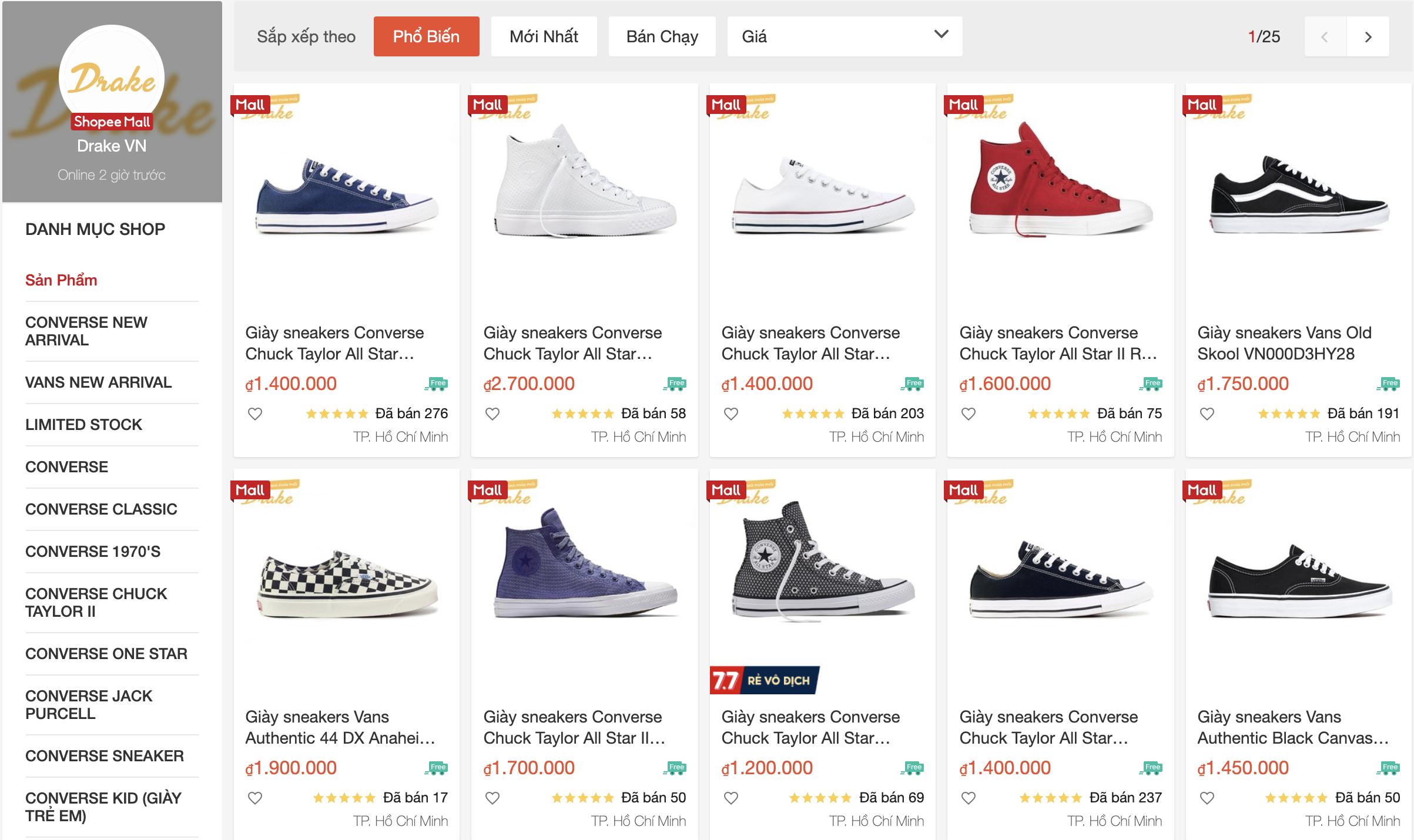 shop bán giày thể thao uy tín trên shopee