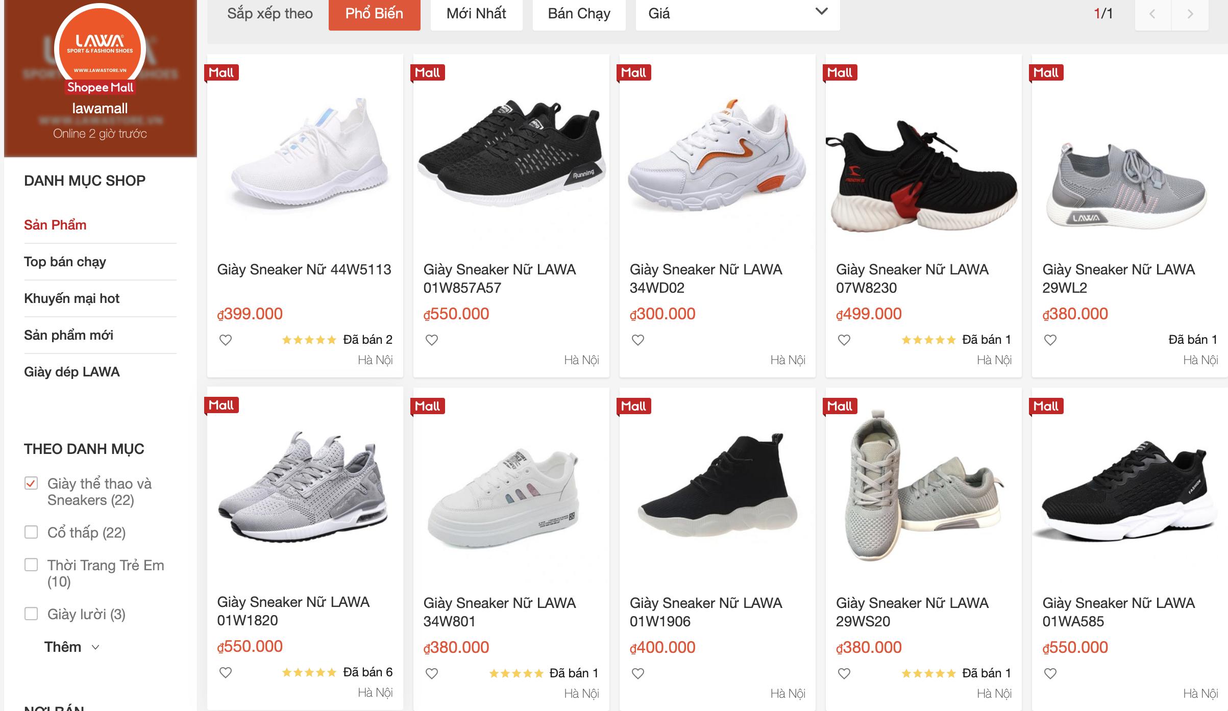 shop bán giày chính hãng trên shopee