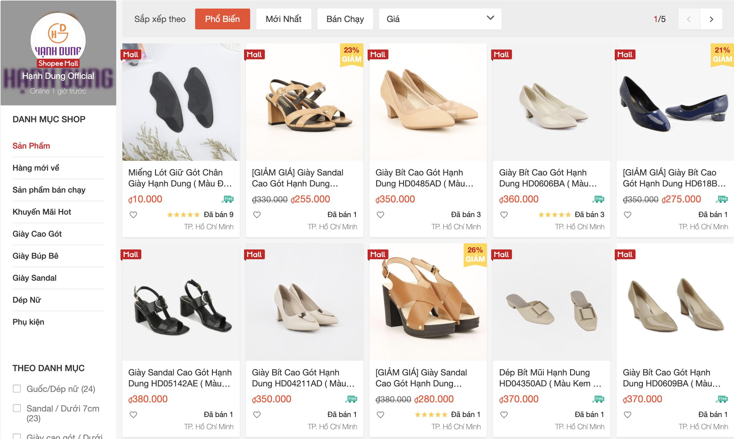 shop bán giày nữ trên shopee