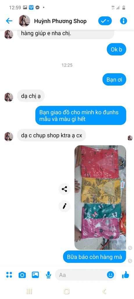 Huỳnh Phương shop chuyên lừa đảo, giao sai mẫu chất vải xấu