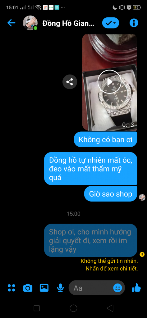 Đồng hồ Giang Bùi: Bán hàng lỗi, không giải quyết, chặn khách hàng