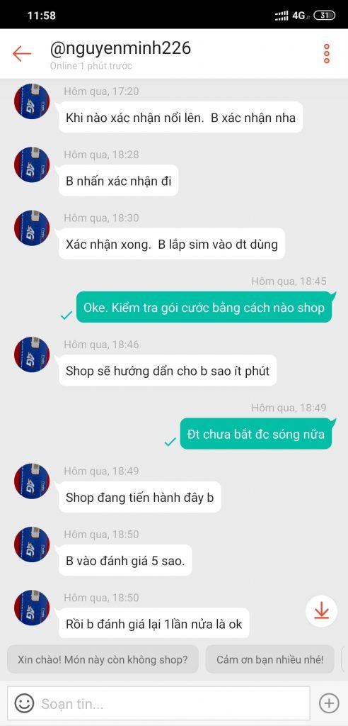 Shop nguyenminh226: bán sim giả, không đúng gói cước cho khách