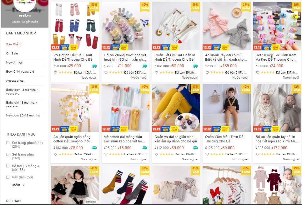 shop bán quần áo sơ sinh quốc tế trên shopee