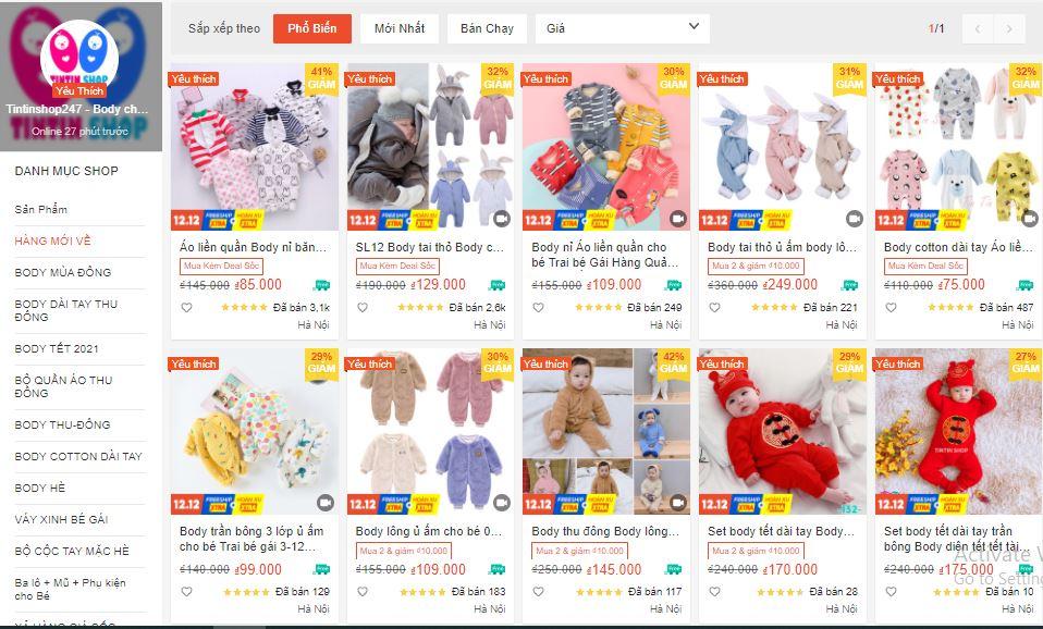 shop bán quần áo cho bé uy tín trên shopee