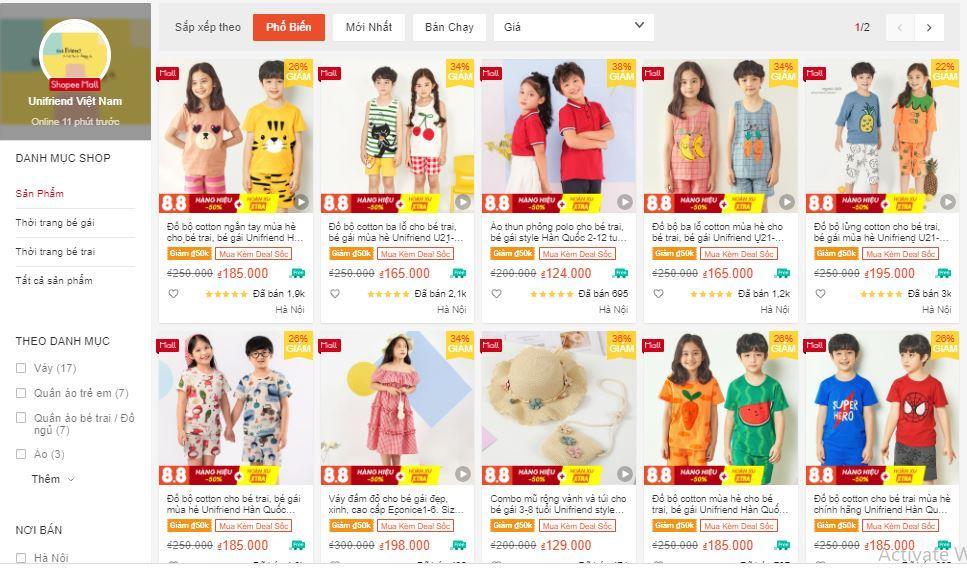 shop quần áo trẻ con trên shopee
